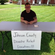 Student Veteran Anthony Marcum helping with the Johnson County Relief Drive