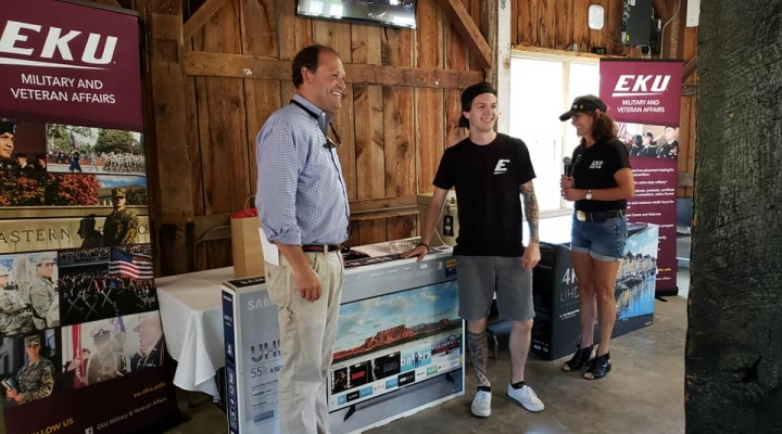 Andy Barr & Student Aric Young Raffle Winner Picnic 2019